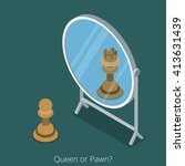 queen or pawn concept. pawn... | Shutterstock .eps vector #413631439
