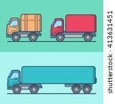 truck van road transport set.... | Shutterstock .eps vector #413631451