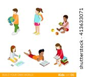 Children education learning studying making classes homework flat web infographic concept vector icon set. Creative people collection. | Shutterstock vector #413633071