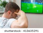 sad man watching football match ... | Shutterstock . vector #413635291