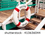 lifebuoy decoration on a wooden ... | Shutterstock . vector #413636044