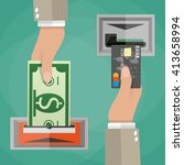 atm terminal usage concept. one ... | Shutterstock . vector #413658994