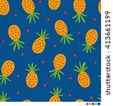 pineapple vector pattern... | Shutterstock .eps vector #413661199