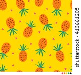 pineapple vector pattern... | Shutterstock .eps vector #413661205