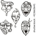 carnival male masks set. black... | Shutterstock .eps vector #413663641