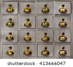 rows of little drawers with... | Shutterstock . vector #413666047