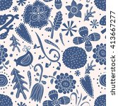 cute blue seamless pattern with ... | Shutterstock .eps vector #413667277