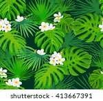 seamless pattern with tropical... | Shutterstock .eps vector #413667391