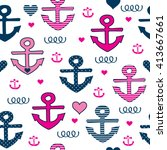 seamless pattern with anchors... | Shutterstock .eps vector #413667661