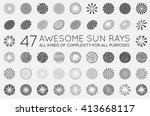 set of sunburst vector rays of... | Shutterstock .eps vector #413668117