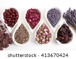 Stock photo rose flower petals and buds for aromatherapy dried lavender 413670424