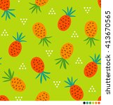 pineapple vector pattern with... | Shutterstock .eps vector #413670565
