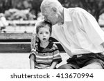 great grandfather taking care...   Shutterstock . vector #413670994