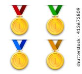 set of colored icons medals.... | Shutterstock .eps vector #413672809