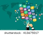 vector map of the world's... | Shutterstock .eps vector #413675017