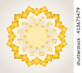 astrology circle with signs of... | Shutterstock .eps vector #413675479