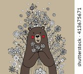 bear freehand with flower... | Shutterstock .eps vector #413675671