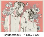 hipster couple with floral... | Shutterstock .eps vector #413676121
