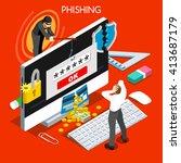 hacker phishing infographic 3d... | Shutterstock . vector #413687179