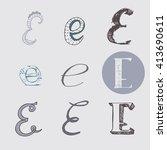 original letters e set ... | Shutterstock .eps vector #413690611
