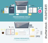 programming and coding... | Shutterstock .eps vector #413691835