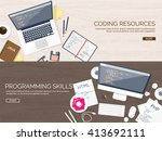 programming and coding... | Shutterstock .eps vector #413692111