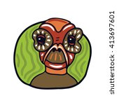 portrait of a old brown alien.... | Shutterstock .eps vector #413697601