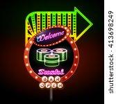 sushi bar neon sign. vector... | Shutterstock .eps vector #413698249