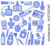 vector doodle set of perfume...   Shutterstock .eps vector #413702269