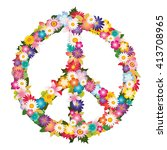 peace and love symbol with... | Shutterstock .eps vector #413708965