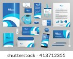 blue branding design kit.... | Shutterstock .eps vector #413712355