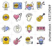 music icons set rock punk jazz... | Shutterstock .eps vector #413719069