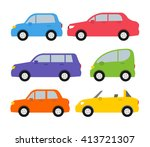 cars set in flat style side... | Shutterstock .eps vector #413721307