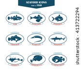 seafood icons. fish icons. can... | Shutterstock . vector #413722294