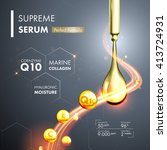 coenzyme q10 serum essence gold ... | Shutterstock .eps vector #413724931