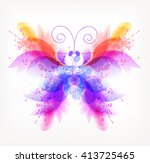fantasy watercolor vector... | Shutterstock .eps vector #413725465