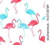 flamingo blue and pink... | Shutterstock . vector #413728789