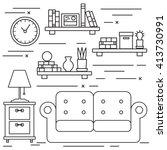 black and white lineart living... | Shutterstock .eps vector #413730991