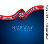 norway flag ribbon   vector... | Shutterstock .eps vector #413745247