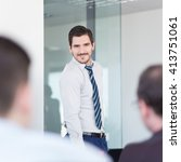 relaxed cheerful team leader...   Shutterstock . vector #413751061