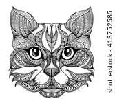 Vector Hand Drawn Cat Face Wit...