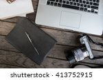 workspace on wood table   Shutterstock . vector #413752915