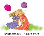 illustration super mother with... | Shutterstock . vector #413755975