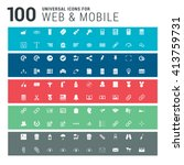 100 universal icons on colorful ... | Shutterstock .eps vector #413759731