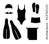 Swimwear and accessories for swimming. Black and white swimming icons. Bathing suit, swimming trunks, goggles, towel, flip flips, swim cap and fins.