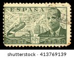 Small photo of SPAIN - CIRCA 1939: A stamp printed by Spain, shows Juan de la Cierva and Autogiro, was a Spanish civil engineer, pilot and aeronautical engineer, green, circa 1939