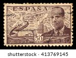 Small photo of SPAIN - CIRCA 1939: A stamp printed by Spain, shows Juan de la Cierva and Autogiro, was a Spanish civil engineer, pilot and aeronautical engineer, brown, circa 1939