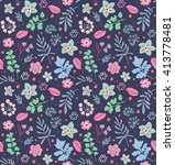 cute pattern in small flower... | Shutterstock .eps vector #413778481