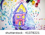 child fingerpainting of a house ...   Shutterstock . vector #41378221