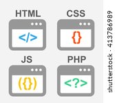 web design  coding and... | Shutterstock .eps vector #413786989